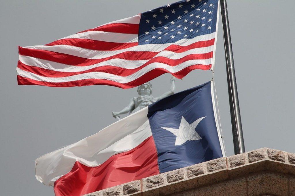 Texas Flag & USA Flag on Texas State Capitol